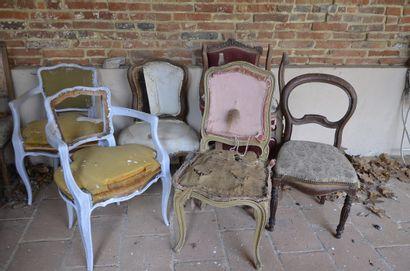 2 fauteuils cabriolet style Louis XV + 5...