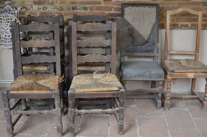 6 chaises paillées rustiques + 2 chaises...