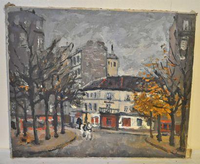GULBENKIAN. Montmartre. Huile sur toile....