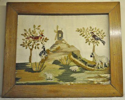 Panneau en tissu brodé à sujet de scène pastorale,...
