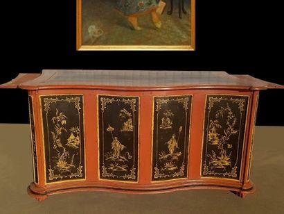 Original bureau peint XIXe à décors de chinoiseries...