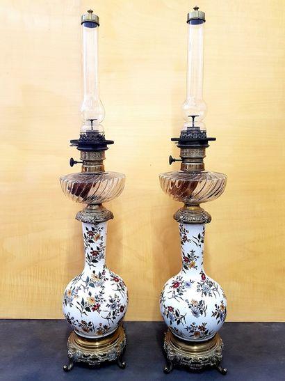 Grande paire de lampes à pétrole, corps en...