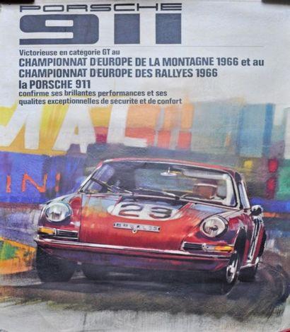 PORSCHE 911. Championne d'Europe 1966. Affiche...