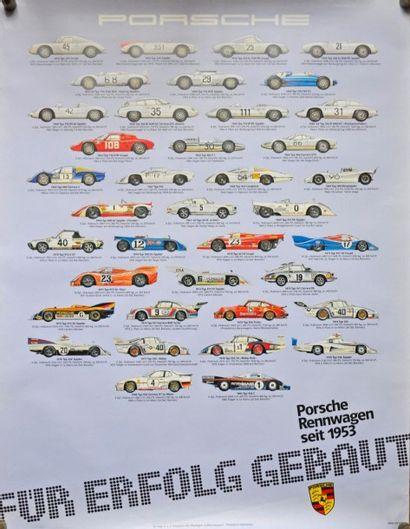 PORSCHE de course depuis 1953 à 1982. Affiche...
