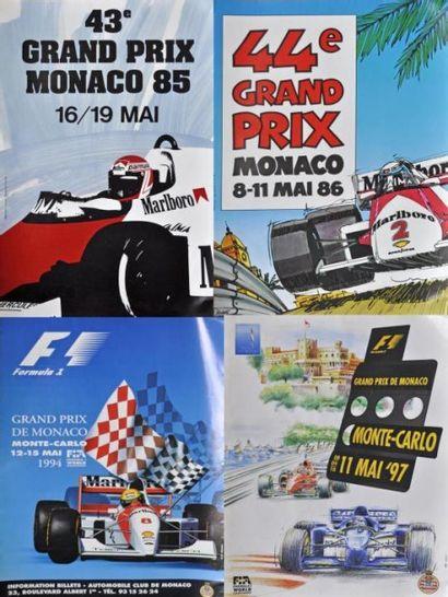 GP de Monaco 1985, 86, 94, 97. 4 Affiches...