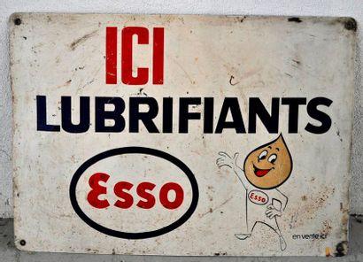 Plaque publicitaire, Lubrifiants Esso. Tampon...