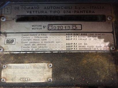 DE TOMASO PANTERA Groupe III / Groupe IV usine N° de Série : 874THPNPM07490 La Pantera...