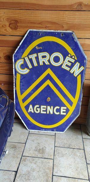 Plaque publicitaire émaillée Citroen Agence,...