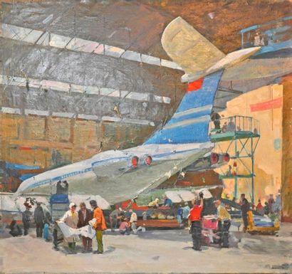 Ecole russe. L'usine aéronautique. Huile...