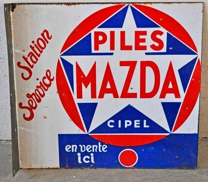 Plaque en émail Station Service Piles Mazda,...