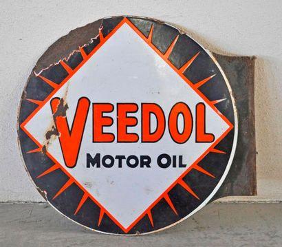 Plaque en émail Veedol Motor Oil, double...