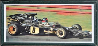 10 pièces encadrées de voitures de course, Formule 1 et rallye