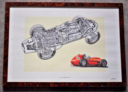 Lot de 7 pièces encadrées, Formules 1 Ferrari années 1940/1950 (37x52cm)