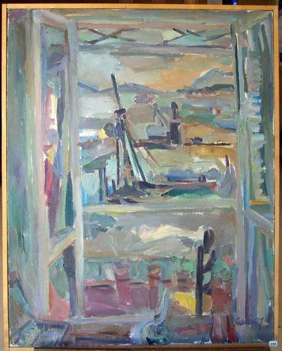 Paul DE GUIROYE . La Fenêtre sur le Port. Huile sur toile, signée en bas à droite,...