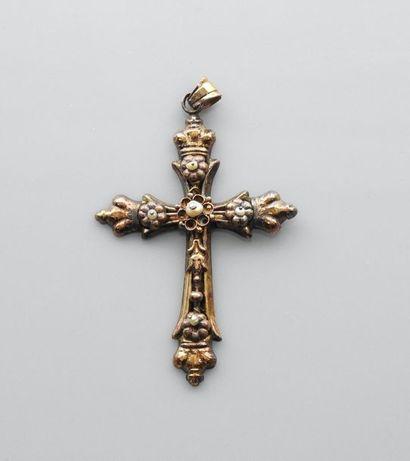 Croix en , argent 925 MM, vermeillé, semences...