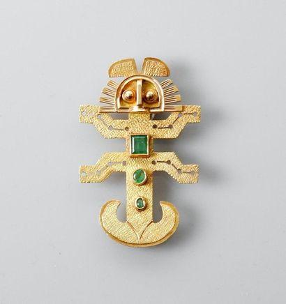 Pendentif style Incas en or jaune, 750 MM,...
