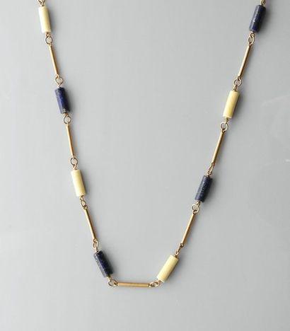 Long collier d'or jaune, 750 MM, ponctué...