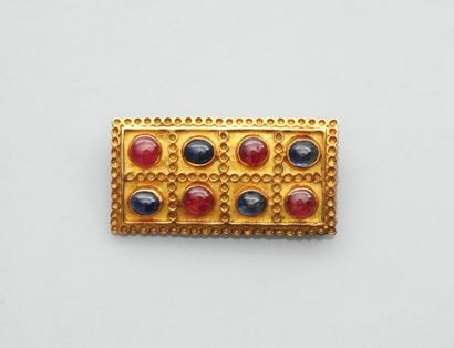 Broche rectangulaire en damier d'or jaune,...
