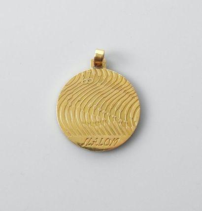 Médaille commémorative en or jaune, 750 MM,...