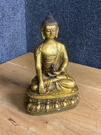 Asie du SudEst Bouddha en bronze doré assis...