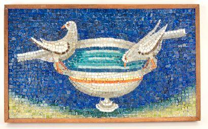 Panneau de mosaïque représentant des colombes...