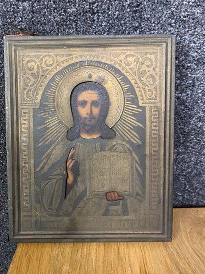Icone Grecque Panneau et métal argenté  18 x 14,5 cm