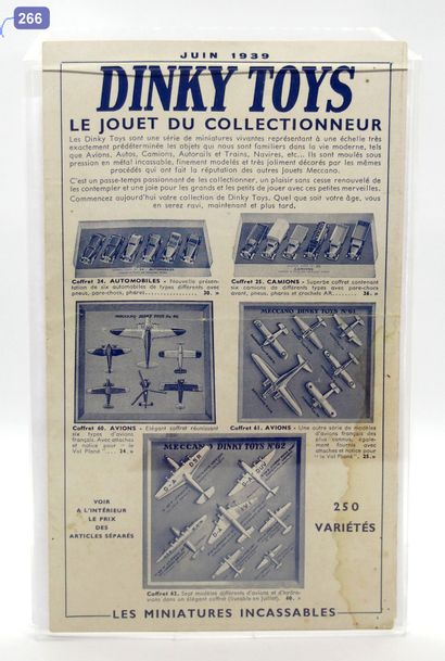 DINKY-TOYS - France - Document (1)  TRÈS RARE  DÉPLIANT DINKY TOYS JUIN 1939  L'ancêtre...
