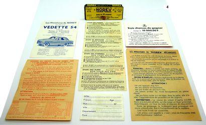 NOREV - France (7)  Lot de documents comprenant:  - Notice à propos des Norev mécaniques...