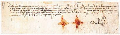 NORMANDIE. CHARTE DE 1454. CAEN (14). Mandat...