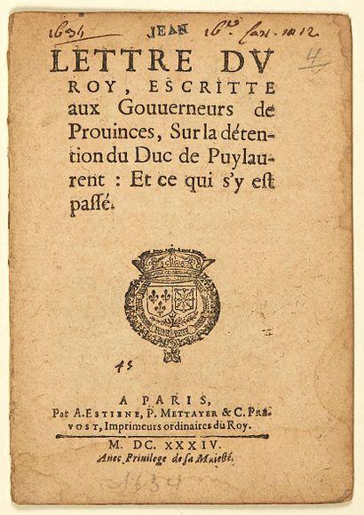 1634. DUC DE PUYLAURENS. «LETTRE DU ROY (LOUIS...
