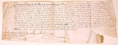 BRETAGNE. 1588. Parchemin (18 x 50) de RENNES...