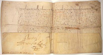 BOURGOGNE. 1585. Parchemin signée, au nom...