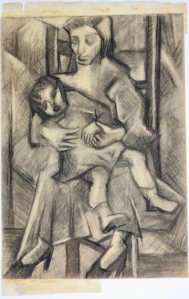 Rongier (XX°)  Maternité, 1952  Crayon sur...