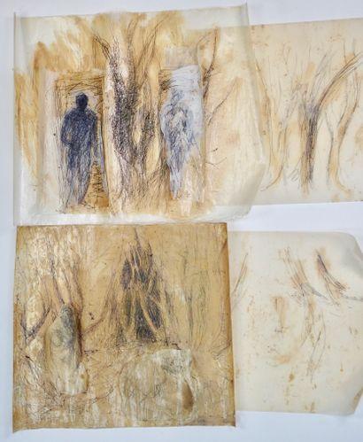 PASKO (XXe siècle)  4 dessins sur papier...