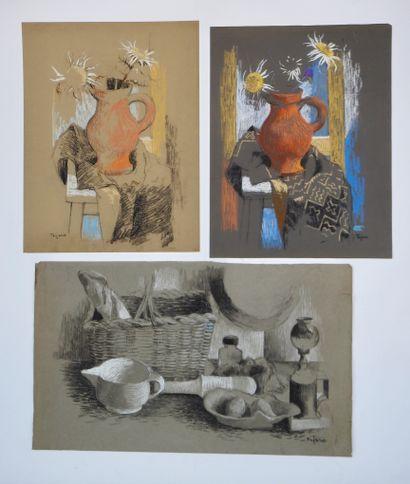 TEJERO (XXe siècle)  Ensemble de trois dessins...
