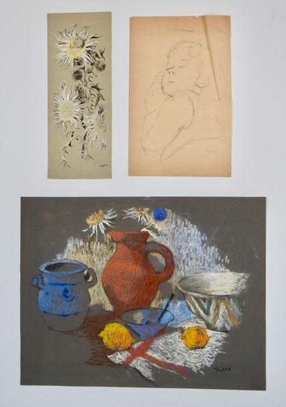 TEJERO (XXe siècle)  Ensemble de quatre dessins...
