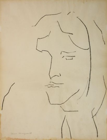Jean Mingam (1927-1987)  Portrait  Dessin...