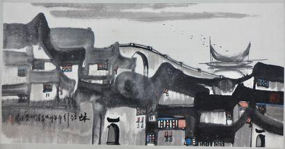Anonyme (XXe siècle)  Vue du port  Dessin...
