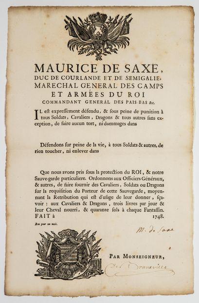 Hermann Maurice, Comte de SAXE, Maréchal de France en 1744 (1696-1750). Pièce signée...