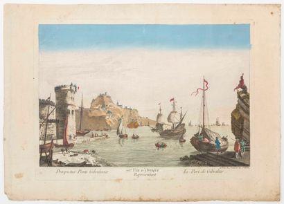 ESPAGNE. GIBRALTAR. «75e vue d'Optique représentant le Port de Gibraltar.» A Paris...