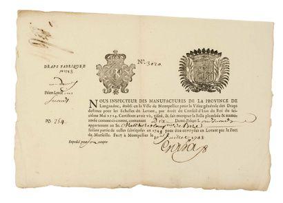HÉRAULT. DOUANE. 1748. Pièce signée de l'Inspecteur des Manufactures de la Province...
