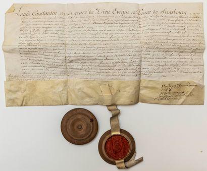 BAS-RHIN. 1758. ALSACE. Pièce signée Louis Constantin De ROHAN-GUÉMÉNÉ (1697-1779),...