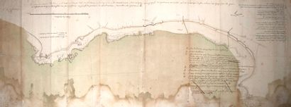 (MANCHE.) FORTIFICATIONS DE CHERBOURG. Plan manuscrit des Côtes de CHERBOURG, 1747....