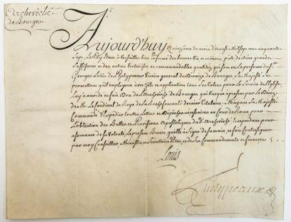 (CHER). 1757. Georges-Louis PHELYPEAUX D'HERBAULT,...