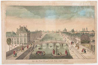 PARIS. «Vue du Pont Royal et du Pont Neuf à Paris.» A Paris chez Daumont rue St...