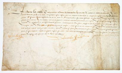 TARN. 1573. CASTRES 21 Avril 1573. Quittance...