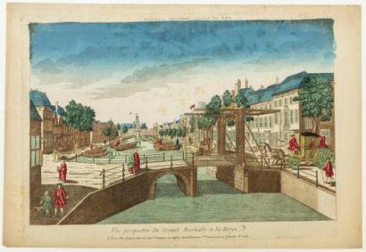 PAYS-BAS. 1750. «Vue perspective du Grand Bierkade à la Haye» à Paris chez Jacques...