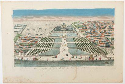 PARIS. «Vue perspective de l'Hôtel Royal des Invalides à Paris.» Vue d'Optique XVIIIe...
