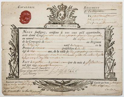 ORNE. 1750. «RÉGIMENT DE TALLEYRAND CAVALERIE» Congé militaire (22 x 28) gravée,...