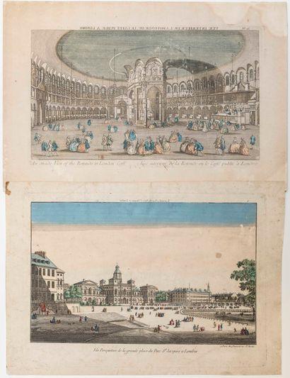ANGLETERRE. LONDRES. 2 vues d'optique: «Vue perspective de la grande place du Parc...